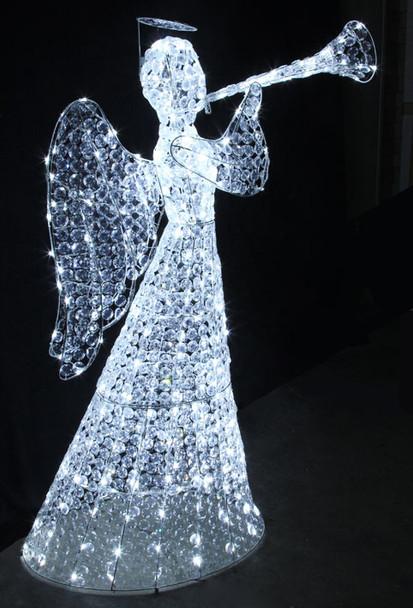 White Acrylic Angel with Trumpet Christmas Wedding Lights
