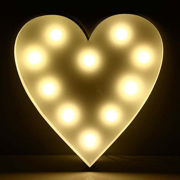 26CM 3D Love Heart Shape Sign With LED Warm White Lights Metal Frame