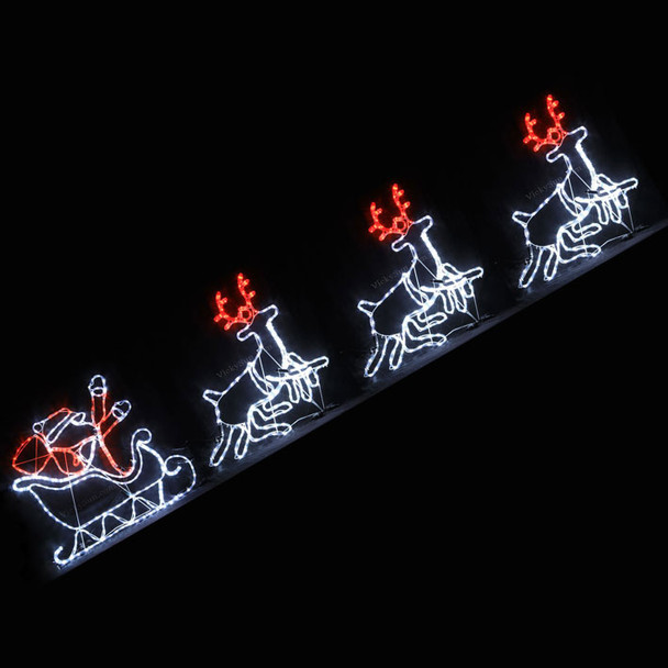 Animated 410CM LED Santa on Sleigh with 3 Reindeer Christmas Motif Rope Lights (24V Safe Voltage