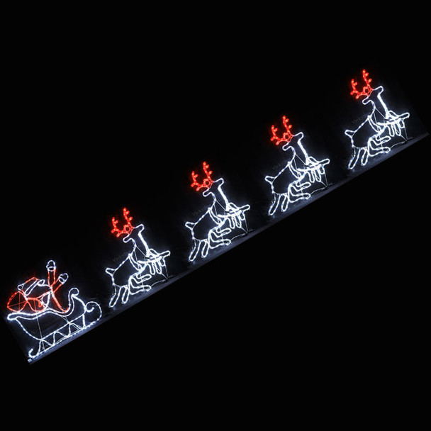 Animated 530CM LED Santa on Sleigh with 4 Reindeer Christmas Motif Rope Lights (24V Safe Voltage)