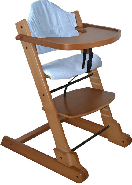 Strong Solid Maple Wooden Foldable Baby High Chair with Tray Pad and Safety Straps