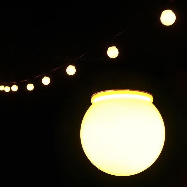 6.5M 20 LED Warm White Festoon Fairy Lights with Milky Round Globe