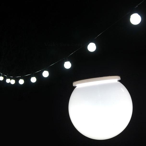 6.5M 20 LED White Festoon Fairy Lights with Milky Round Globe