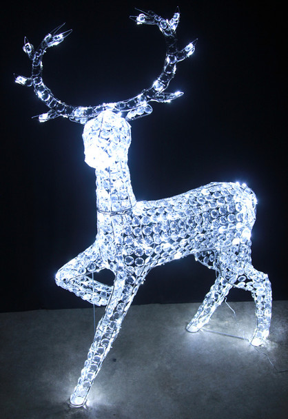 127CM 3D LED White Acrylic Beads Reindeer Christmas Lights