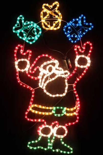 Animated 113CM Santa Playing Gift Box Christmas Motif Rope Lights