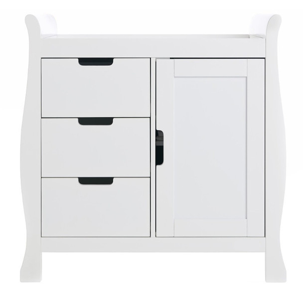 White Solid Wood Sleigh Baby Changing Table