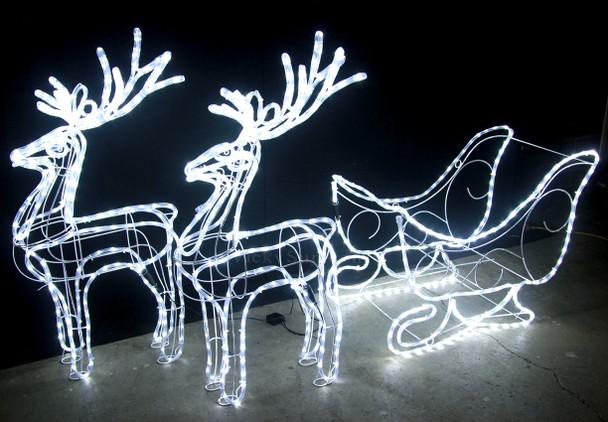 99CM High LED White Reindeers and Sleigh Christmas Lights