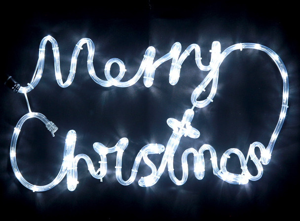 56CM LED White 'Merry Christmas' Sign Motif Rope Lights