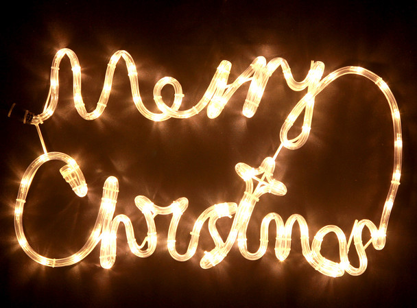 56CM LED Warm White 'Merry Christmas' Sign Motif Rope Lights