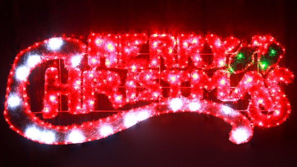 143CM Red and White 'Merry Christmas' Motif Rope Lights with PVC Grass