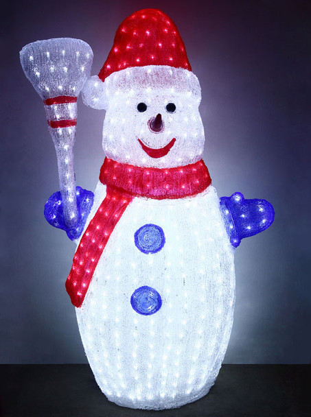 123CM 3D Acrylic Snowman with 600 White LED Christmas Lights