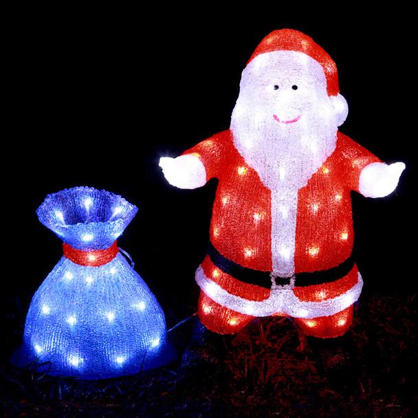 56CM Acrylic LED Santa with Blue Gift Bag Christmas Lights