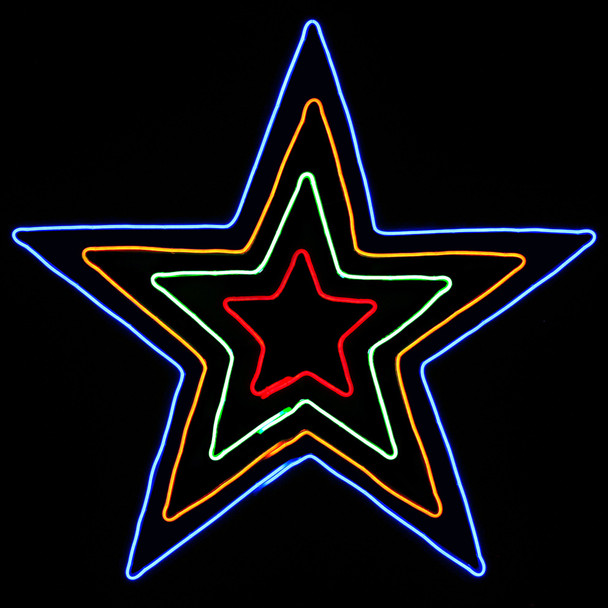 110CM LED Flashing Neon Red Green Orange Blue Star Christmas Motif Rope Lights