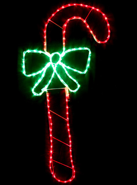 128CM LED Candy Cane with Bow Christmas Motif Rope Lights