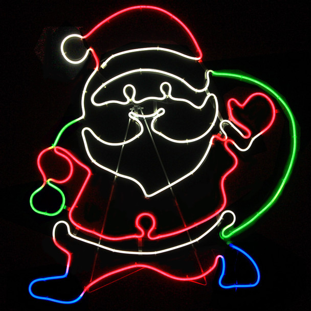 76CM LED Neon Santa Carrying Gift Bag Christmas Motif Lights