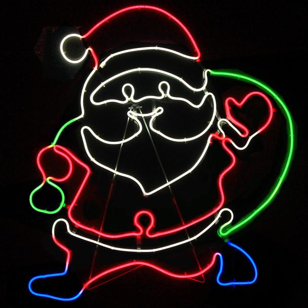 76CM LED Neon Santa Carrying Gift Bag Christmas Motif Lights