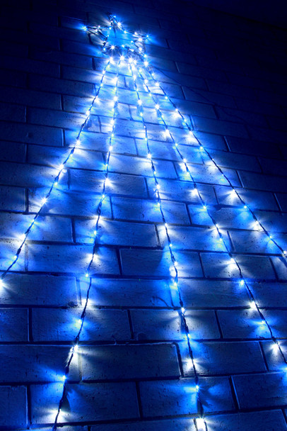 180 LED Top Star Blue White Waterfall Lights Green Wire 2.4M
