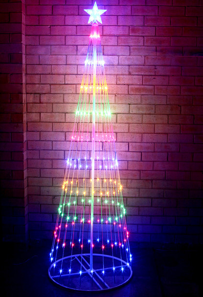 215CM 246 LED Multi Colour Christmas Cone Tree Fairy Lights with Circling Functions