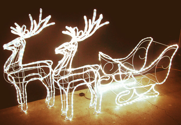 99CM High LED Warm White Reindeer and Sleigh Christmas Motif Rope Lights