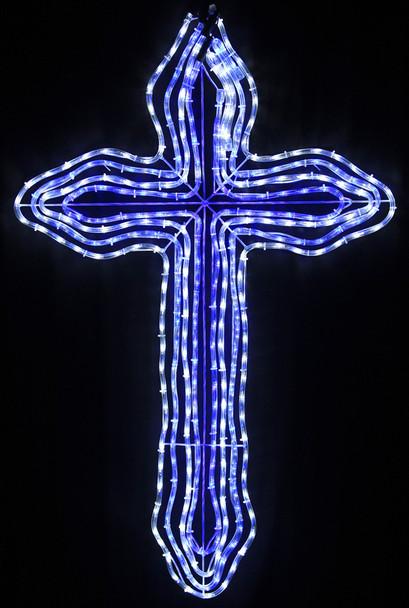 120CM LED 4 Layers Blue White Christmas Cross Motif Rope Lights