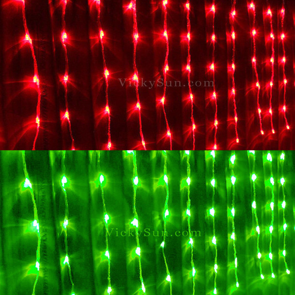 20M 528 LED Colour Changing Red Green Christmas Icicle Lights with 10 Functions