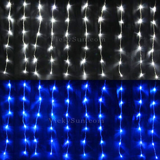 20M 528 LED Colour Changing Blue White Christmas Icicle Lights with 10 Functions