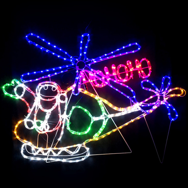 113CM LED Santa on Helicopter with HO HO HO Christmas Motif Rope Lights
