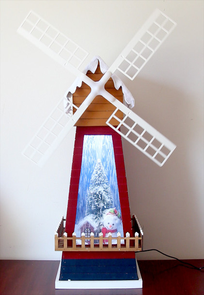 67CM Christmas Snowy Windmill with Rotating Vanes Music and LED Lights Decoration