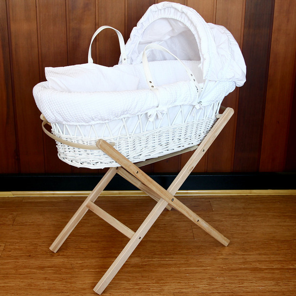 Baby Wicker Bassinet with Natural Wooden Folding Stand and Waffle White Bedding Set SH001N