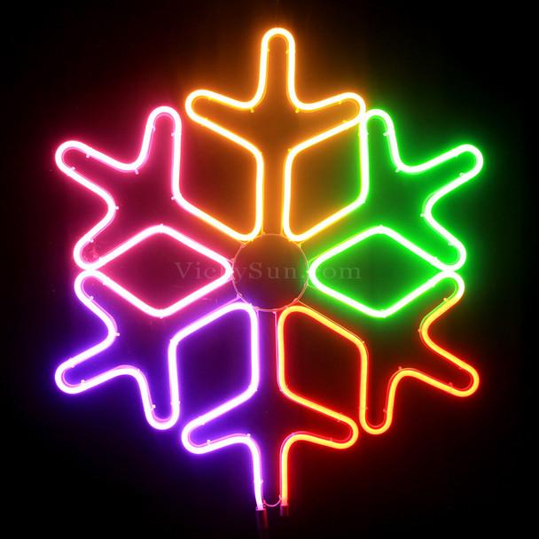 62CM High LED Neon Multi Colour Snowflake Christmas Motif Lights