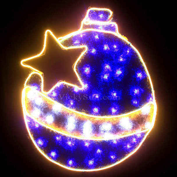 83CM Blue LED Neon Christmas Ball and Star Motif Rope Lights with PVC Grass