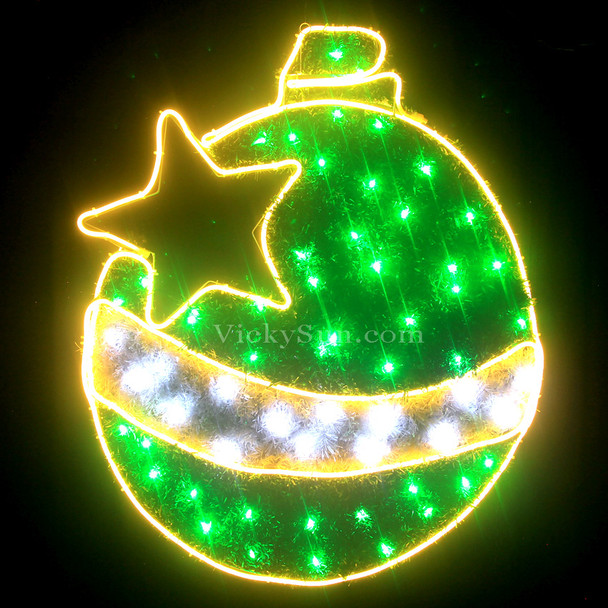 83CM Green LED Neon Christmas Ball and Star Motif Rope Lights with PVC Grass