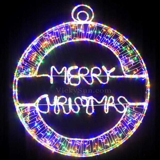 115CM LED 'Merry Christmas' Ball Motif Rope Lights Multi Colours