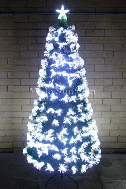 180CM Green Christmas Tree with LED White Fiber Optic Lights Synced to Music