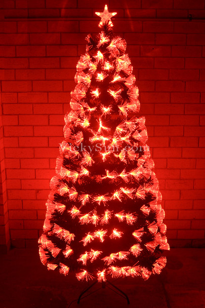 180CM Green Christmas Tree with LED Red Fiber Optic Lights Synced to Music