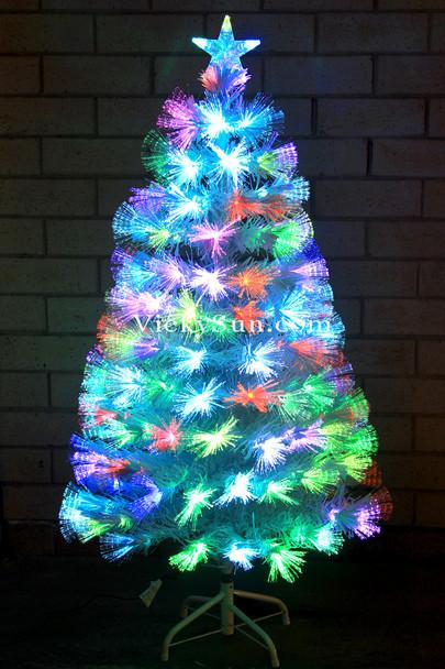 180CM White Christmas Tree with Multi Colours Fiber Optic Lights