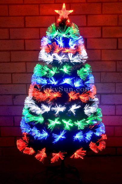 180CM Green Christmas Tree with Multi Colour Fiber Optic Lights in Layers