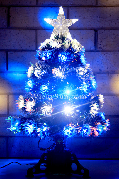 60CM Green Christmas Tree with Blue White LED Lights in Layers