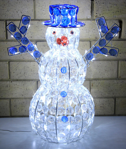 51CM 3D LED Acrylic Beads Snowman with Blue Hat Christmas Lights