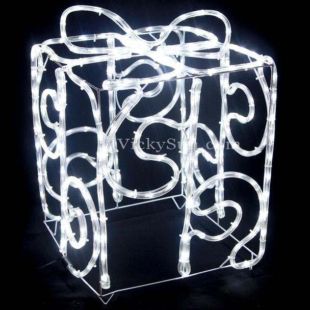 3D LED White Solar Christmas Gift Box Motif Rope Lights