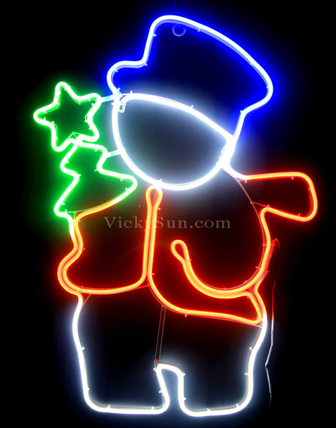 74CM LED Neon Snowman with Christmas Tree Motif Lights