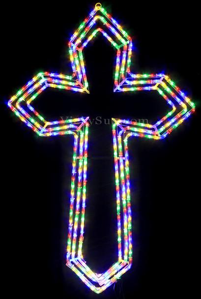108CM LED 3 Layers Flashing Christmas Cross Motif Rope Lights - Multi Colours