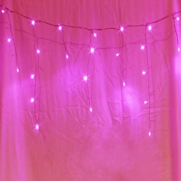 21M 500 LED Solar Pink Christmas Icicle Lights with 8 Functions (Green Wire)