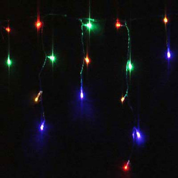 24M 800 LED Solar Multi Colours Christmas Icicle Lights with 8 Functions (Green Wire)