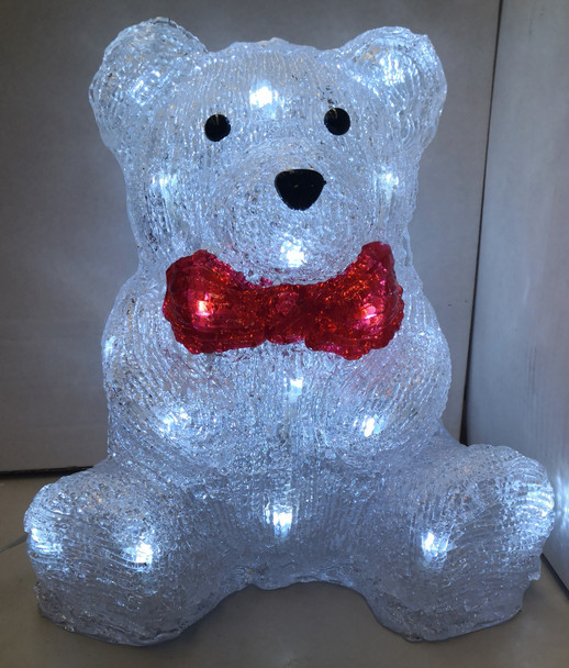 25CM 3D Acrylic Sitting Baby Bear with Red Bow Tie White LED Christmas Lights