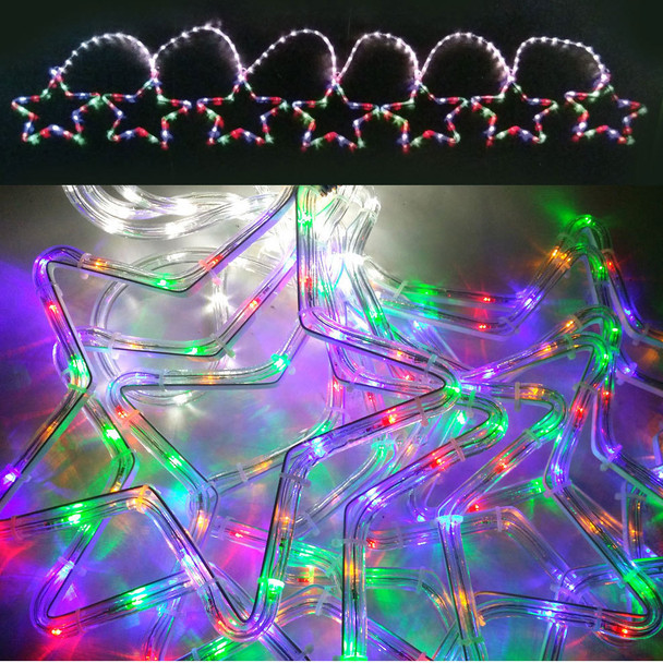 7 Pcs 3M LED Multi Colours Christmas Stars Rope Lights & Functions