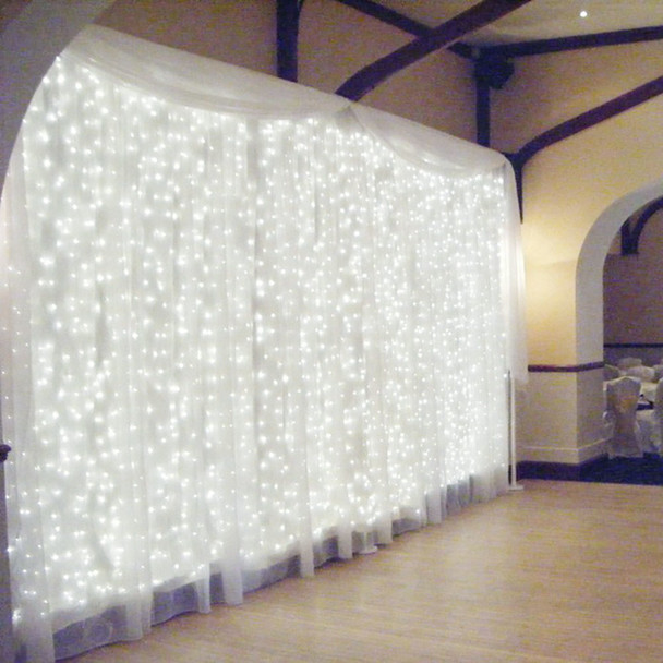 360 LED Christmas Curtain White Lights