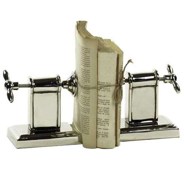 Set of 2 Adjustable Clamp Nickel Bookends