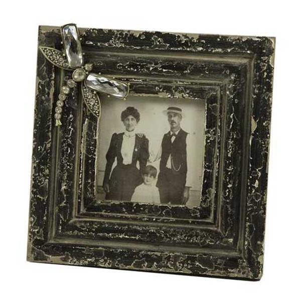 20CM Dragonfly and Pearl Square Wood Photo Frame 4x4