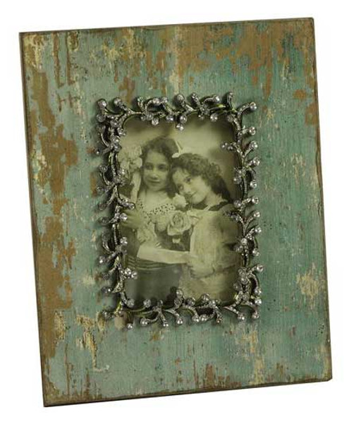 27CM Shabby Chic Green Pearl Wood Photo Frame 4X6
